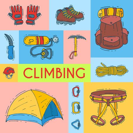Mountain climbing, alpinism and mountaineering illustration. Hiking equipment cartoon symbols poster or card for invitation. Icons of hiker adventures