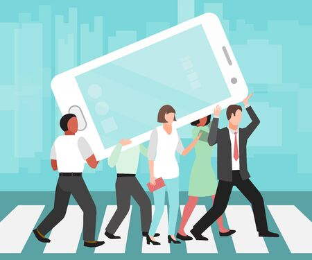 People carry huge cell phone illustration. Social media and smartphones addictions. Phones socially addiction