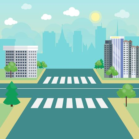Street road, city without traffic landscape vector illustration. Crossroads with crosswalk, urban highway. Landscaped cities and streets Иллюстрация