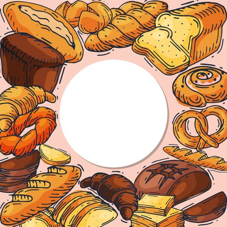 Bread loaf round set vector illustration. Baking loaves, bagels and ciabatta collection located around place for text. Fresh whole grain baguette, croissant and breadcrumb food breakfast in bakery.
