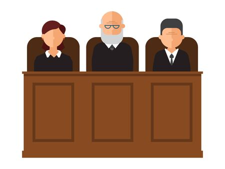 Court trial vector illustration. Courtroom interior with judges and lawyer. Law and criminal, crime and justice in courthouse concept. Judical court interior