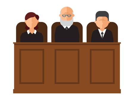 Illustration vectorielle de procès devant le tribunal. Intérieur de la salle d'audience avec juges et avocat. Droit et criminel, crime et justice dans le concept de palais de justice. Intérieur du tribunal judiciaire Vecteurs