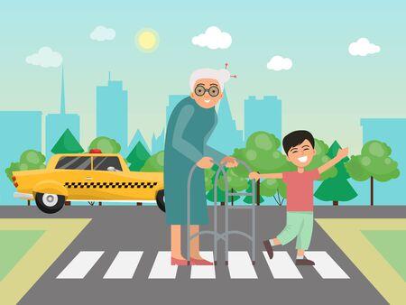 Il ragazzo aiuta la nonna attraverso l'illustrazione di vettore della strada. Piccolo bambino e nonna sulle strisce pedonali. Ragazzi che aiutano gli anziani sulle strade Vettoriali