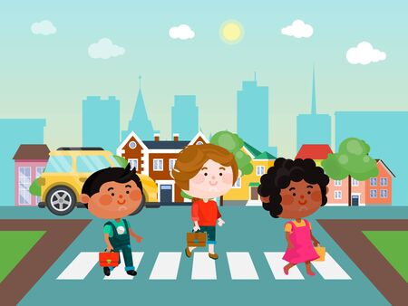 Kids crossing the street vector illustration. Children walking across the road. Boys and girl on the crossroad. Schoolkids on the streets against the background of the city