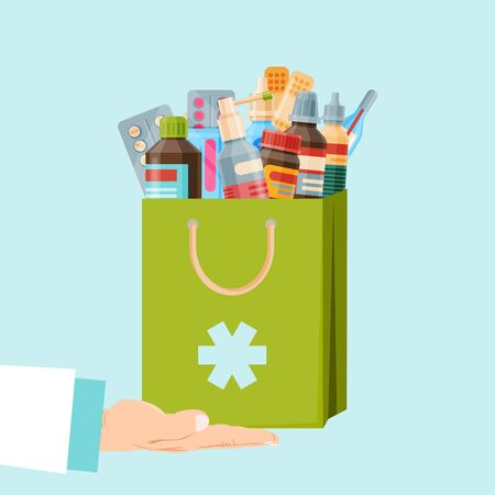 Healthcare and shopping, drug store, pharmacy shopping bag. First aid package, health care vector illustration. Pharmacist or doctor hand holds a paperbag with medicine