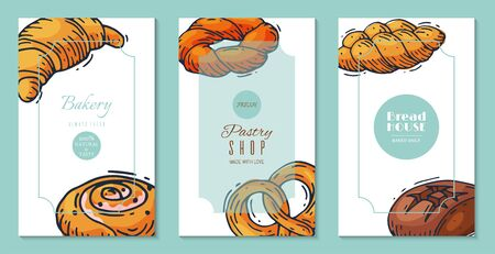 Fresh bread loaf banners vector illustration. Baking loaves, bagels and ciabatta. Fresh wholegrain pastry baguette, croissant and breadcrumb for breakfast bakery. Templates for flyers, invitation card