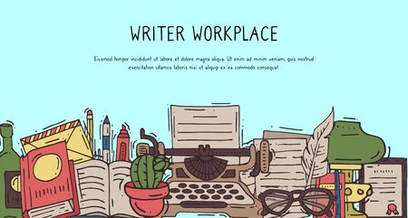 Copywriter vintage workplace banner vector illustration. Retro typewriter, feather for write and oil lamp and modern workplace are notebook, pen and markers are printable for banners Ilustração