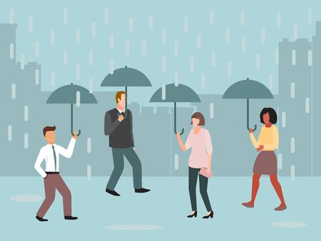 Urban people under umbrellas in rainy day vector illustration. Rain, grey clouds and bad weather in the cities. City streets with people with umbrella
