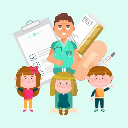 Doctor and happy active kids vector illustration. Boy and girls surrounded pediatrician doctor. Care about children health in clinic or hospital
