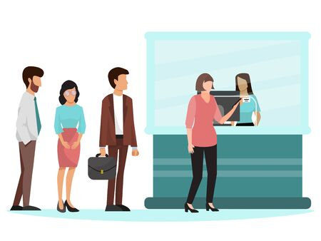 People standing in queue in bank vector illustration. Group of businesspeople stand in line near bank clerk window. Different persons to queue up near clerk