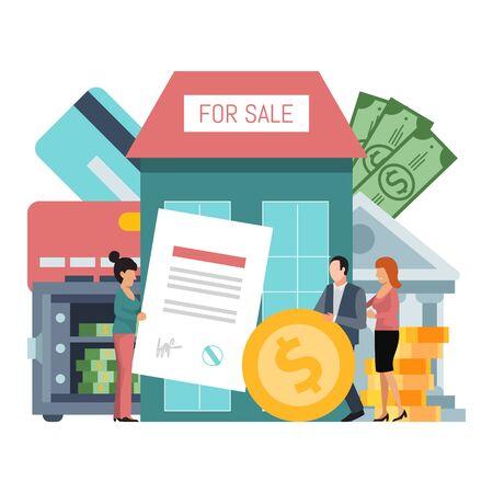 Ilustración de vector de bienes raíces de crédito de compra. Crédito financiero para el concepto de negocio de la casa. Agente inmobiliario con contrato y compradores Ilustración de vector
