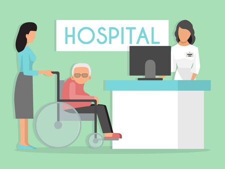 Old person on wheelchair at hospital reception vector illustration. Medicine for old patients. Senior disabled waiting doctor and medical care in clinic.