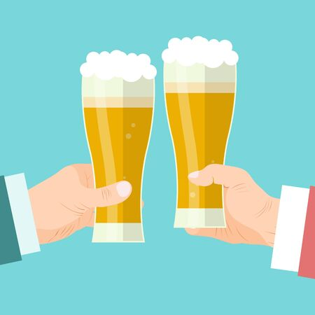 Businessmen beer toast vector illustration. Beery foam cheers celebration. Businessmens hands holding glass mugs of foamy drink