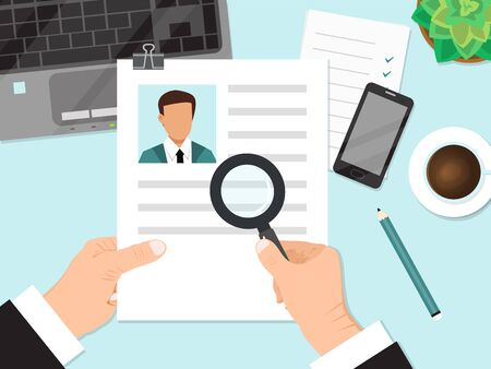 Businessman holding cv resume and magnifier vector illustration. Job recruiter reading resume of person with magnifying glass. Job recruitment interview Illustration