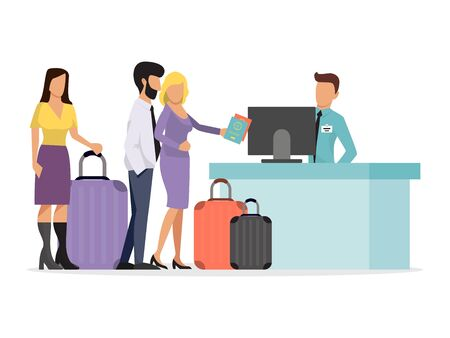 A large queue of different people at the airport. Airline queueing vector illustration. People with luggage in departure airlines