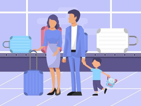 Family at baggage claim area vector illustration. Family with kid and luggage in the airport terminal. Happy airport tourists