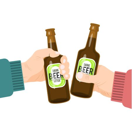 Hands toasting with bottles of beer. Two hand are cheers with bottled beverage. Beers party, holiday vector illustration. Welcome to octoberfest concept Ilustração