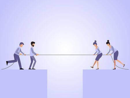 Ilustración de vector de tira y afloja de hombres y mujeres. Concepto de competencia de cuerdas de negocios. Gente de negocios tirando cuerda sobre el precipicio.