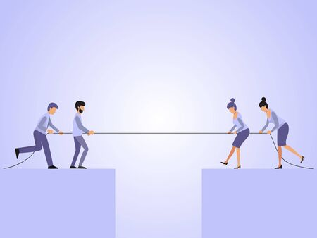 Men and women tug of war vector illustration. Business rope competition concept. Business people puling rope over the precipice.