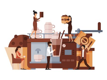 Business concept of coffee break vector illustration. Cartoon tiny character making coffee. People in office make and drink espresso