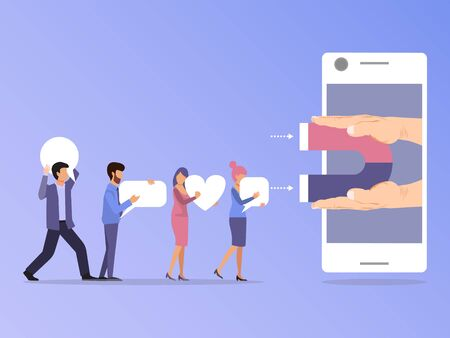 Social media followers and users attracted by magnet in smartphone vector illustration. SMM magnetic concept. Vektorové ilustrace