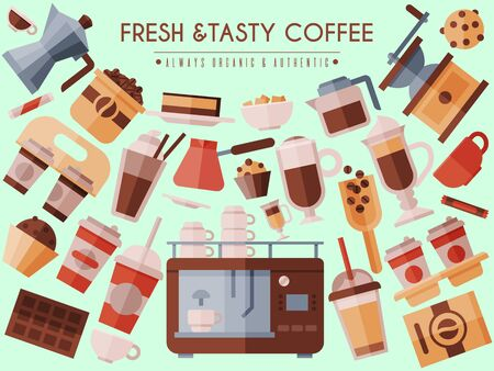 Coffee beans and equipment banner vector illustration. Cappuccino, espresso and mocha drinks to go. Coffeemachine with cups for hot beverages with caffeine banner Vettoriali