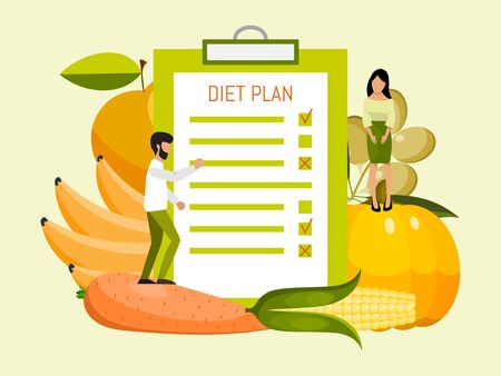 Individual dietary service concept vector illustration. Individually diet plan conception. Healthy nutritious food, weight control. Ilustração