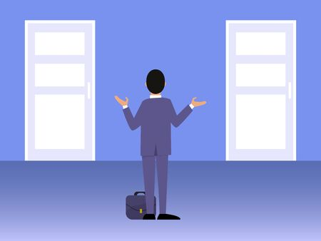 Businessman standing in front of two doors vector illustration. Male in suit choose the right door. Business man choosing decision strategy.