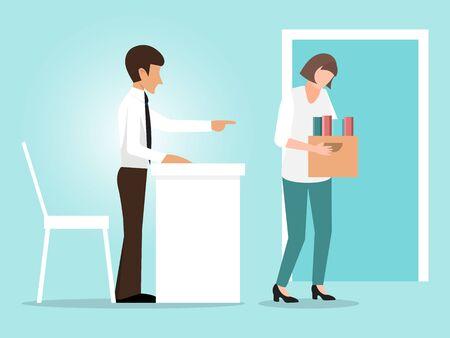 Woman dismissal concept vector illustration. Businessman fired woman. Girl with box quit work, unfair dismissed Ilustração
