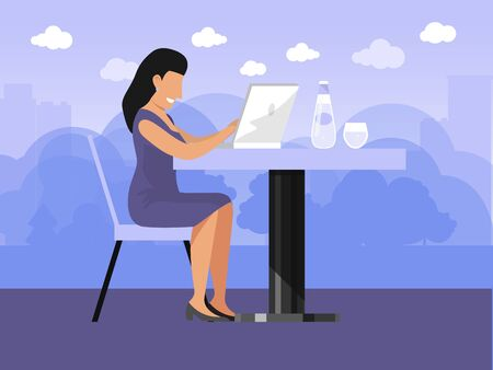 Freelance girl working on laptop vector illustration. Woman freelancer at home workplace. Businesswoman works on terrace.