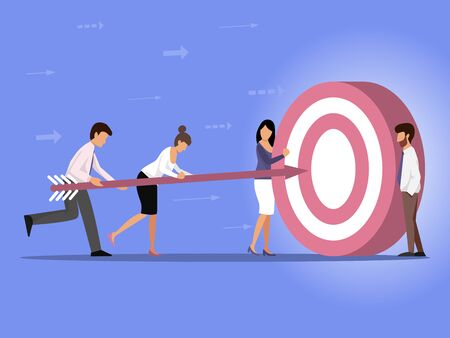 The characters of a man and a woman carry a dart at a SUCCESS target. Vector illustration