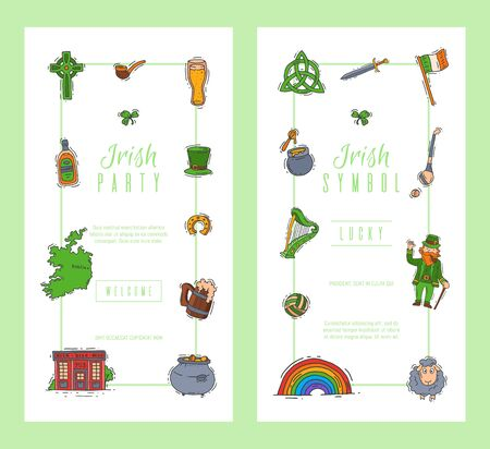 Irish party celebration card templates. St. Patrick s day green party invitation cards vector illustration.  イラスト・ベクター素材