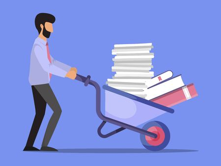 Businessman pushing a wheelbarrow full of paper vector illustration. Office worker pushing a cart with documents. Pile of papers on barrow.