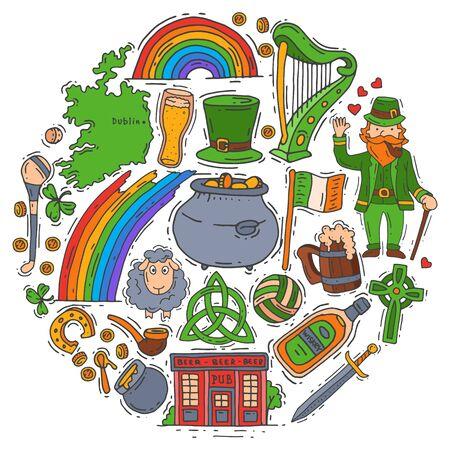 Ireland symbols doodle set vector illustration. St Patrick s day, shamrock, clover, leprechaun and irish pub.