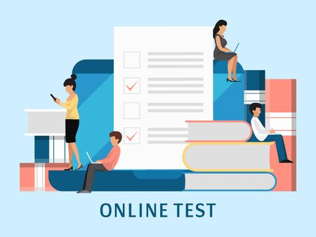 Online exam people concept. Tiny students fill on line examination form vector illustration. Checklist, paper document, to do list with check boxes or education exam Ilustração