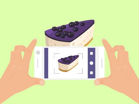 Hand with phone take photo of cake food vector illustration. Smartphone photography of pie. Top view of cakes phones photo.