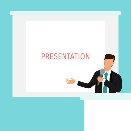 Businessman on presentation vector illustration. Business man character on tribune with microphone and white screen on background Ilustracja