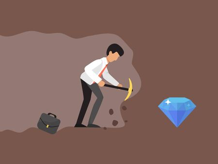 Concept of a businessman digging and mining to find bitcoin vector illustration. Business man mining to find bitcoins and earning crypto currency. Reklamní fotografie - 138170187