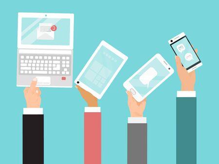Mani che tengono l'illustrazione di vettore di diversi dispositivi. Comunicazioni Internet aziendali tramite laptop, telefono cellulare e tablet.