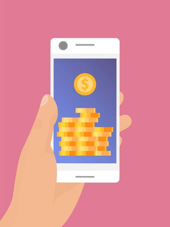 Hand holding mobile smartphone with golden coins on screen vector illustration. Mobile monetization concept. Crypto online commerce
