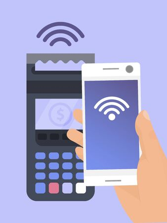 Mobile payments near field communications technology vector illustration. POS terminal confirms the payment by smartphone.