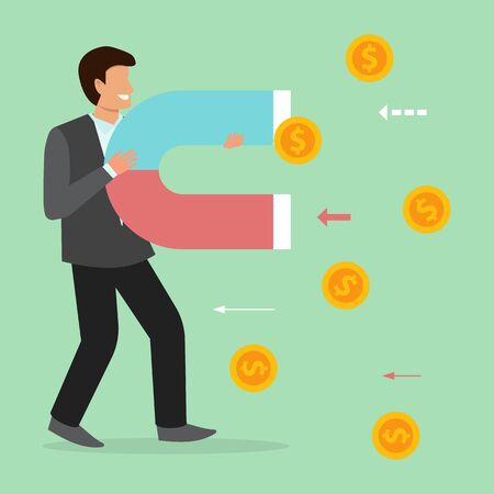 Business man magnetic attracts coins, money, finance. Businessman holds big magnet vector illustration. Money attract power concept