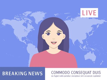 Newscaster woman reports on tv breaking news. Live news, anchorwoman, headline concept. Anchor news broadcasting