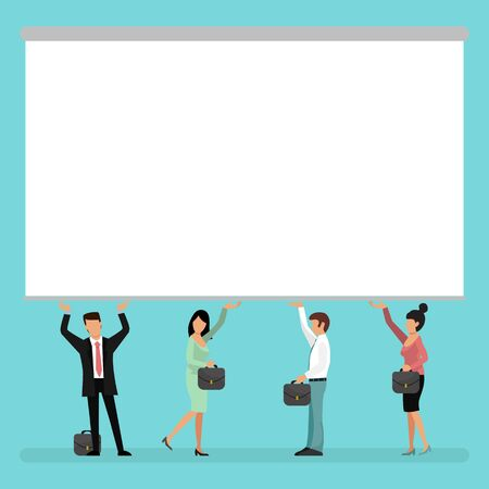 Group of business people holding big empty placard. Businessmen crowd hold banner vector illustration. Banner template for print billboards or web pages advertising 向量圖像