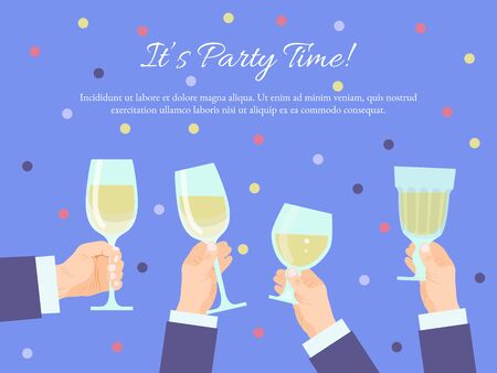 Hands group holding glasses with champagne. Toasting congratulations champagne glass cheers. Celebration ceremony, new year office party or holidays events 向量圖像