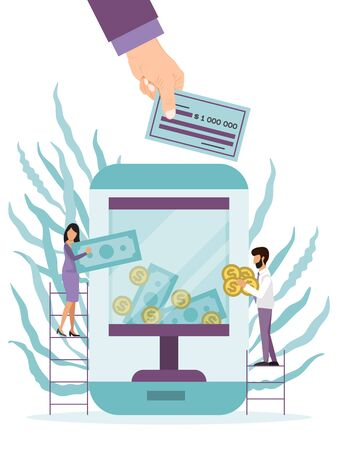 Donating, charity online concept. Fundraising on line app vector illustration. Phone with charity box on screen. People on ladders put money in donation box by internet. Big hand put money check
