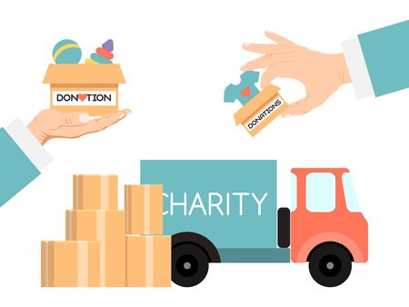 Charity truck donate vector illustration. Volunteers hands are putting donation carton boxes filled with goods in truck to help people who needs