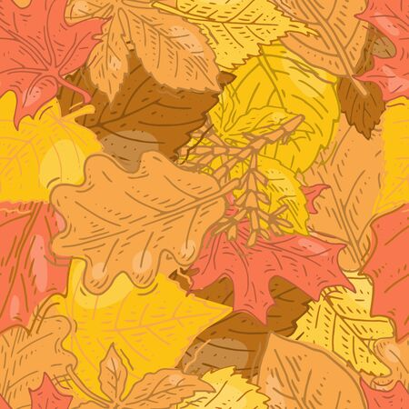 Seamless pattern with autumn leaves vector illustration. Falling leaf pattern. Autumn seamless background.