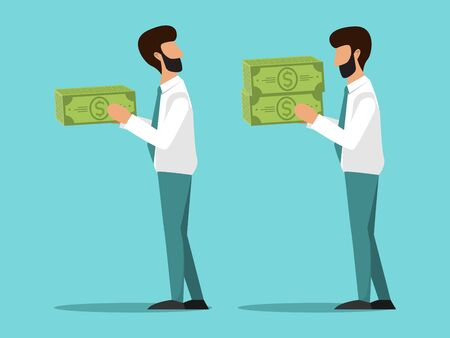 Business concept of different salary for workers vector illustration. Two cartoon managers with differing salaries. Unequal workers, wages business management, pay competition Ilustração
