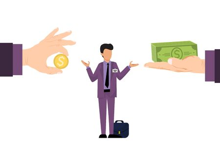 Business concept of different salary offer for employees vector illustration. Business manager with differing salaries offers. Ilustração